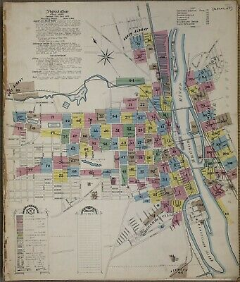 Albany, NY,  New York~Sanborn Map©~sheet 67 ~1892~enhanced by seller in color