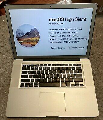 "15"" 2011 Apple MacBook Pro 2.0 Ghz i7 4GB RAM 500GB HDD High-Res Matte Antiglare"