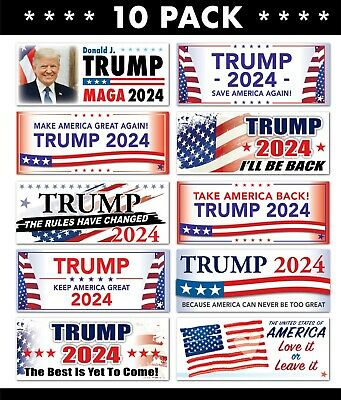10 PACK - TRUMP 2020 2024 STICKERS - Save America Flag President MAGA Republican