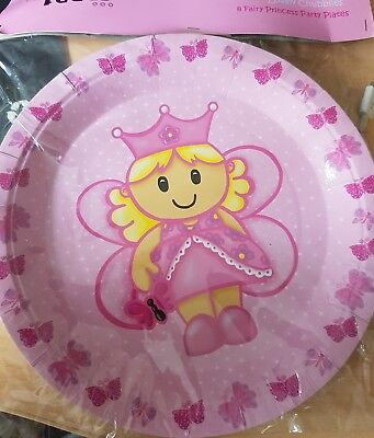 8x Fairy Princess Party Themed Round Paper Plates ~ Size 23cm.](Fairy Themed Party)
