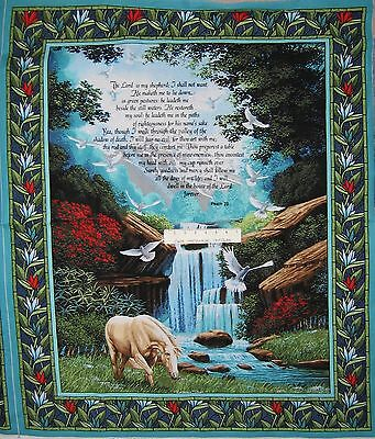34  Cotton Fabric Panel   Faith God Religious Christian Psalm 23 Wallhanging Oop