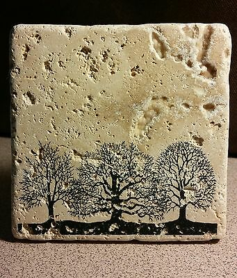 Set of 4 Trees Tumbled Stone Coasters