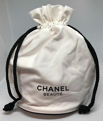 Chanel Beaute White Cosmetic Makeup Accessories Drawstring Pouch Bag New