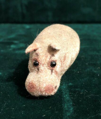 Vintage Kunstlerschutz Miniature Flocked Hippopotamus