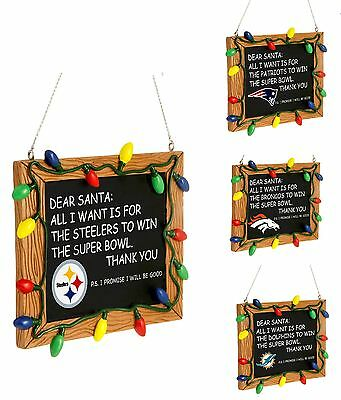 NFL Football Team Resin Chalkboard Sign Christmas Tree Ornament - Pick Your Team