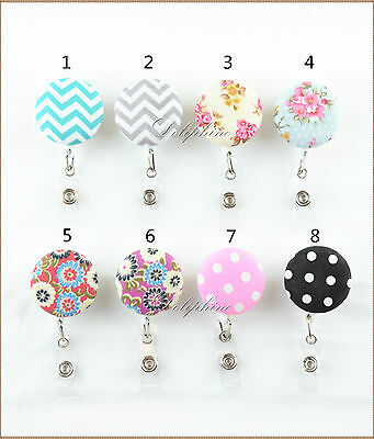 Classic Pattern Fabric Reel Retractable ID Badge Holder with Belt Clip (Badge Holder With Clip)