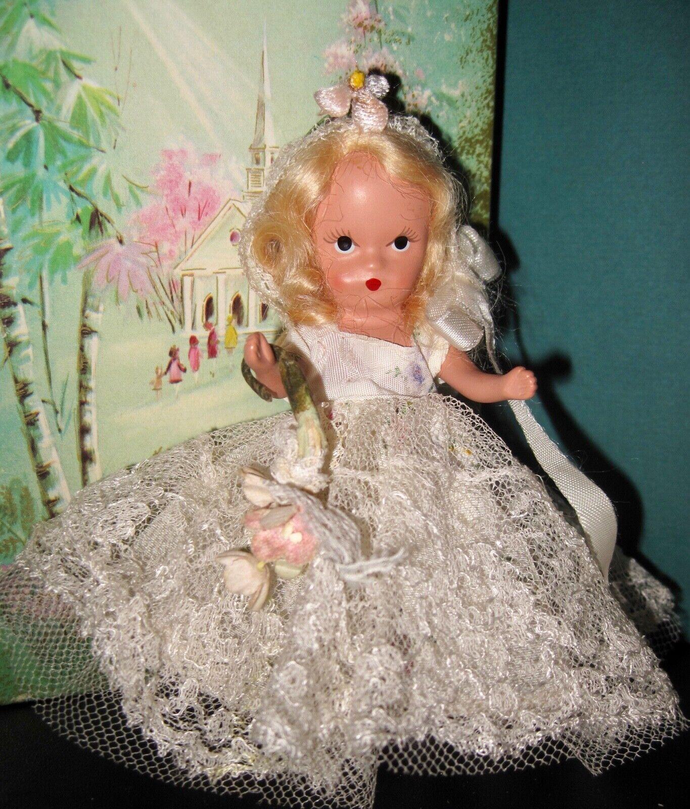 Vintage 1948 Nancy Ann Doll 85 Jtd HP 4.5 Flower Girl NASB Free Ship - $32.00