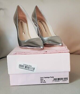 Brand New Sophia Webster Coco Flamingo Pumps Silver Size 38 US size 8.