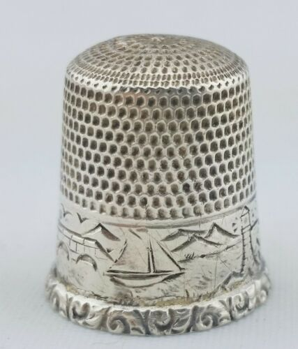 Waite Thresher Sterling Silver Thimble Pawtucket RI Water Scene Lighthouse 1900s