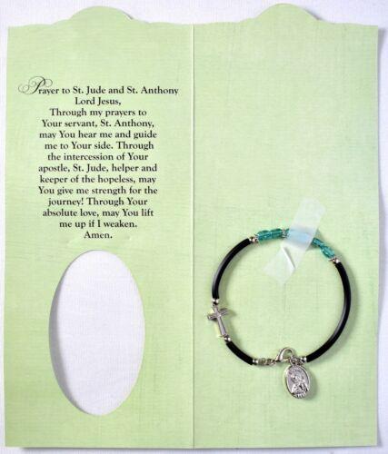 St. Jude & St. Anthony Pray For Us Bracelet With Prayer >NEW<