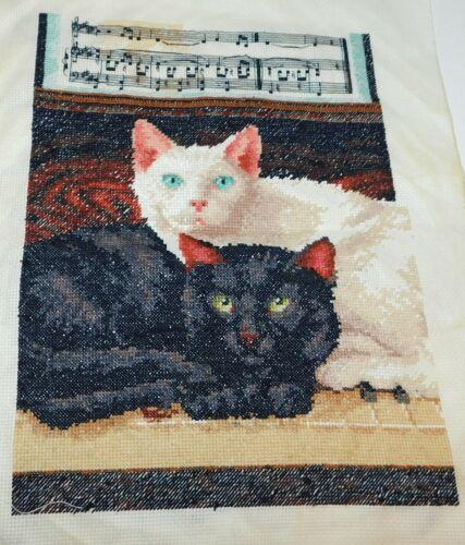 EBONY & IVORY Finished Dimensions Cross Stitch Piece Cats Piano
