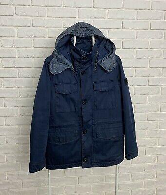Vintage Stone Island Junior Raso Gommato Jacket Navy Blue Size 14/164 Hooded