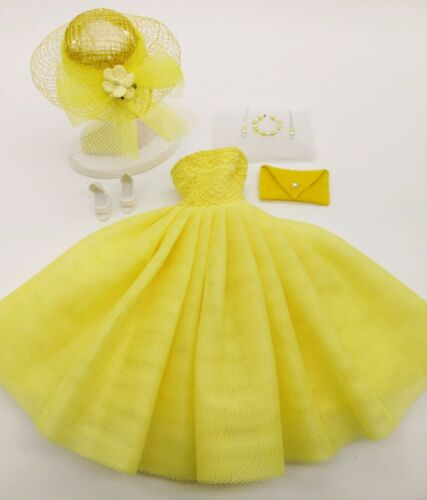 BARBIE FASHION YELLOW PARTY DRESS  MINT!  FREE EXTRAS  STUNNING! SPECIAL OFFER