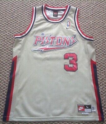 Nike Detroit Pistons Vintage Gray1980 NBA Ben Wallace Sewn Large 3 Jersey Vintage Detroit Pistons
