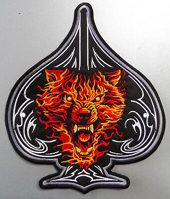 EMBROIDERED BIKER MOTORCYCLE BACK JACKET PATCH - Wolf in flames on spade shape
