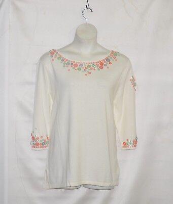 Bob Mackie Jewel Neck 3/4 Sleeve Sweater with Button Accent Size 1X (3/4 Sleeve Jewel Neck Sweater)