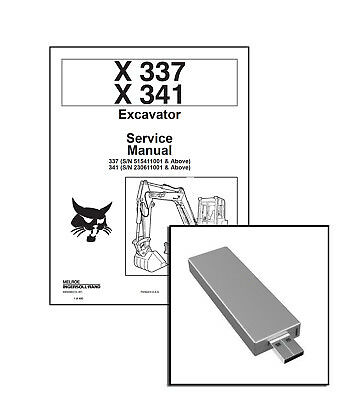 Bobcat X 337 X 341 Excavator Workshop Service Repair Manual Usb Stick Download