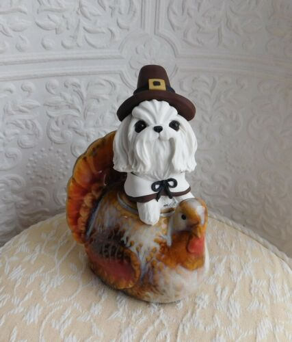 Maltese Thanksgiving Pilgrim hand sculpted by Raquel at theWRC OOAK