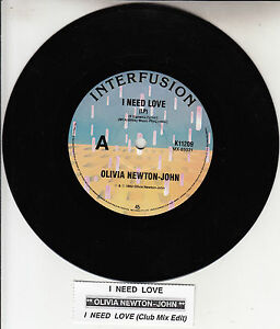 OLIVIA-NEWTON-JOHN-I-Need-Love-7-45-rpm-record-juke-box-title-strip-NEW