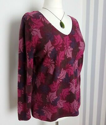 tweeds woman ladies dark red burgundy leaf print angora wool jumper top 16 18 18 Leaf Dark Cherry