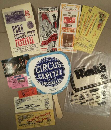 Peru IN: Lot Vtg 1962-80s CIRCUS CITY FESTIVAL Programs, Brochures, Tickets Etc.