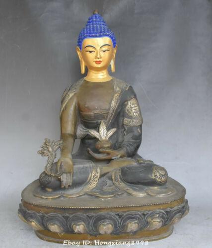 "16"" China Buddhism Bronze Painting Medicine Buddha  8 Auspicious Symbol statue"