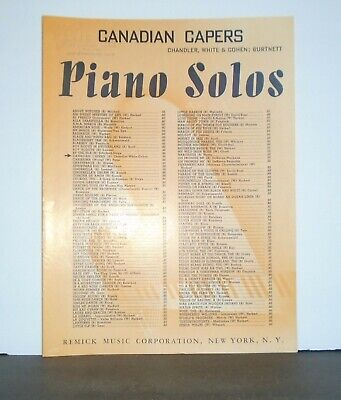 VINTAGE SHEET MUSIC - CANADIAN CAPERS 1915 - $3.99