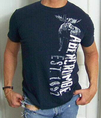 mens - ABERCROMBIE & FITCH shirt - L - MUSCLE - USED - GRAPHICS - Navy Blue