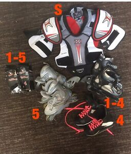 Kids hockey pads, roller/ice skates, blade shields