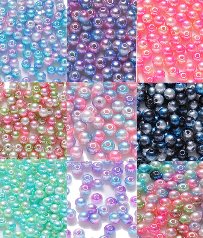 4/6/8mm Wholesale Acrylic Round Pearls Spacer Loose Beads For Jewelry Making yu