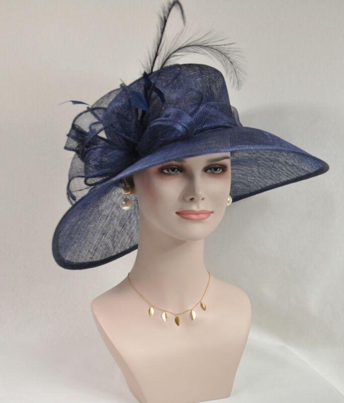 Kentucky Derby Church Wedding Feather Flower Wide Brim Sinamay Hat