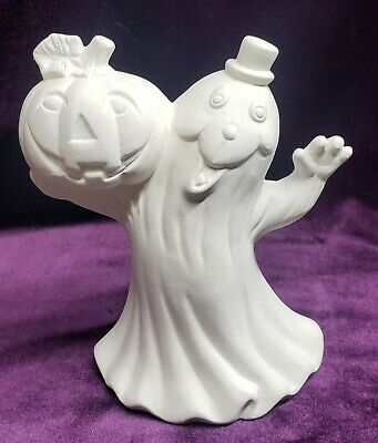 Ghost Holding Pumpkin, Ceramic Bisque, Ready to Paint
