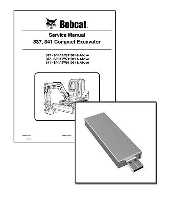 Bobcat 337 341 Compact Excavator Service Repair Manual Usb Stick Download