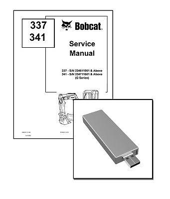 Bobcat 337 341 G-series Excavator Service Repair Manual Usb Stick Download