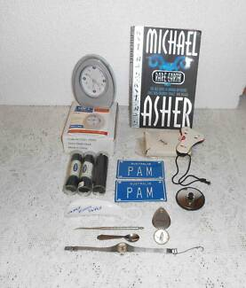 BOOK, CLOCK, BALL COUNTER, SHOE LACES & HORN, PLUG, WATCH,HOOK, S