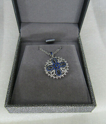 New Silver plated Blue Clear Cross Disc Pendant Necklace in box Disc Pendant Necklace