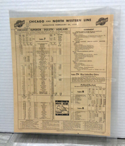 Vintage 1944 Chicago and North Western Line WWII Era Train Timetable!