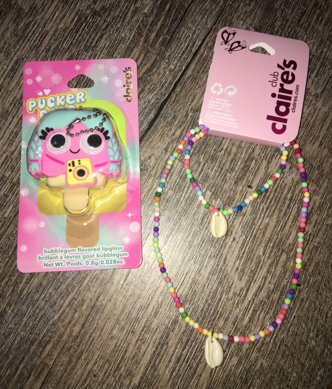 Claire's Girls Shell Necklace Jewelry Set Lipgloss Keychain Backpack Clip Vsco