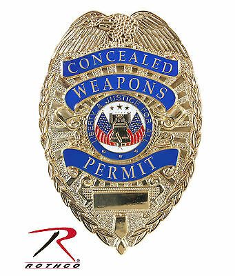 Concealed Weapons Permit Badge - Deluxe GOLD Rothco 1946