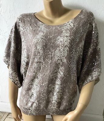 INC Petite Womens Size PL Kimono Sleeve Sweater Knit Shirt Sequined Embellished Kimono Sleeve Knit Shirt