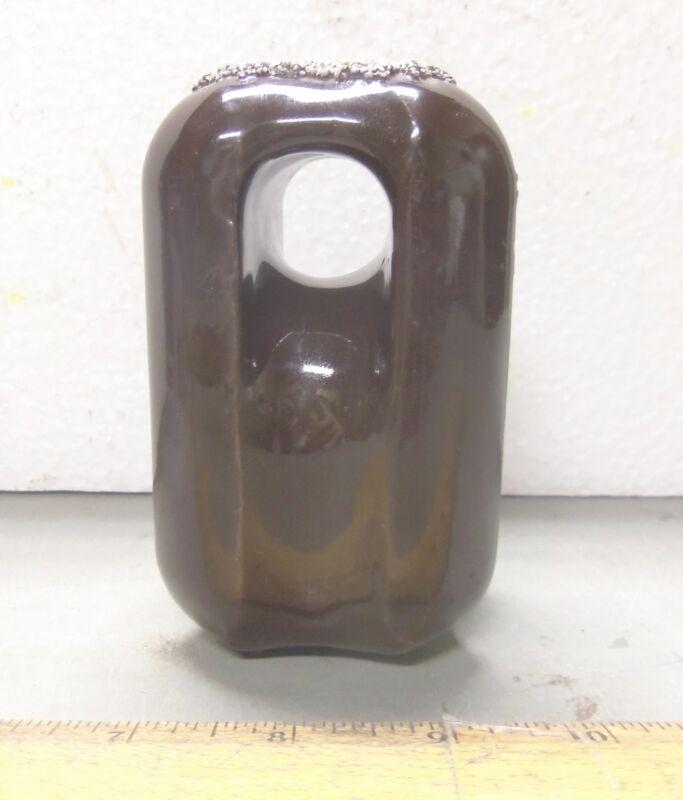 Vintage Glazed Ceramic Brown Electrical Strain Insulator (NOS)