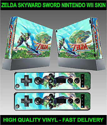 Nintendo Wii Sticker Kit Skin Zelda Skyward Sword Style & 2 Remote Skins