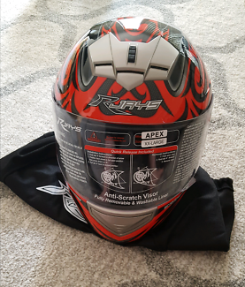BRAND NEW RJAYS 'APEX' RED/BLACK MOTORCYCLE HELMET