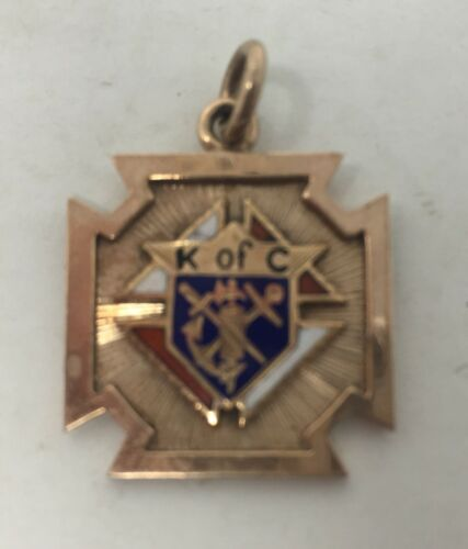 10k Gold Knights Of Columbus Enamel Pendant Medal 3.8 grams