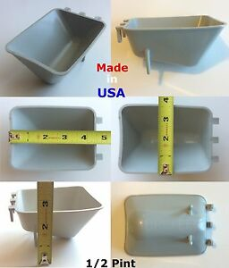 (6 pcs) 1/2 Pint / 8 fl oz Grey Surefeed Hanging Feed & Water Cage Cups Poultry