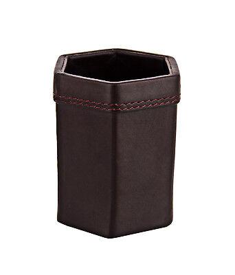 Genuine Leather Pen Stand Holder Desk Organizer Brown Stocking Stuffer For Men