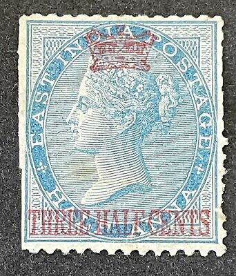 Malaysia Straits Settlements 1867. 1 1/2c On 1/2a Blue Stamp. MH No Gum ?
