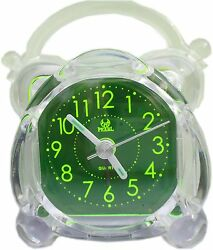 Travelling electrical alarm clock green cute version backlight night light