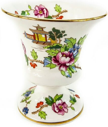 """Crown Staffordshire China Pagoda 3.5"""" Pedestal Cup Gold Trim Asian Floral Scene"""