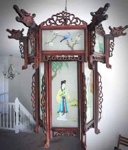 Купить Rare Antique Chinese Zitan Hardwood Reverse Painted Glass Paneled Carved Lantern